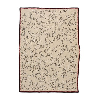 """Calligraphy Cashmere Blanket, 51"""" x 71"""" For Sale"""