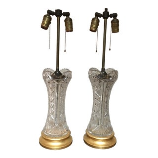 Vintage Hollywood Regency Crystal Lamps - A Pair
