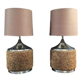 Mid Century Modern Chrome & Cork Lamps - a Pair For Sale