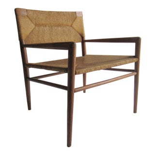 Early Mid-Century C.1956 Mel Smilow - Thielle Walnut Woven Lounge Chair For Sale