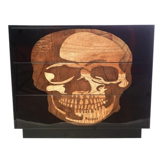 21st C. Parchment and Inlaid Wood Skull Commode For Sale