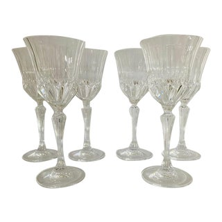 Vintage 1990's Clear Cut Crystal Wine Glasses - Set of 6 For Sale
