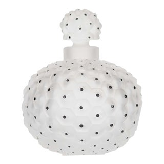 French Art Deco Sphere-shaped Frosted Glass Perfume Bottle For Sale