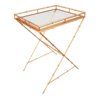 1960s Hollywood Regency Brass Faux Bamboo Tray Table For Sale