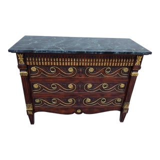 John Widdicomb Vintage Italian Style Commode Carved Front For Sale