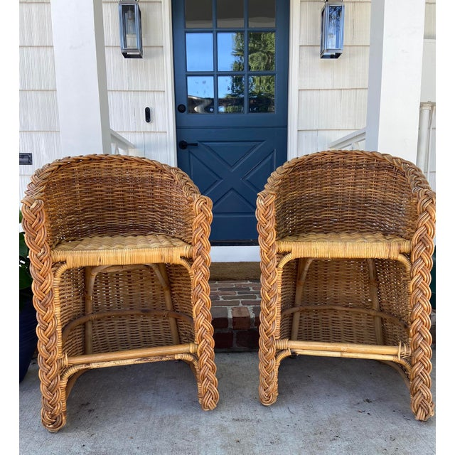 Vintage 1970's Gabriella Crespi style woven wicker / rattan and bamboo bar stools with braided trim. The vintage stools...