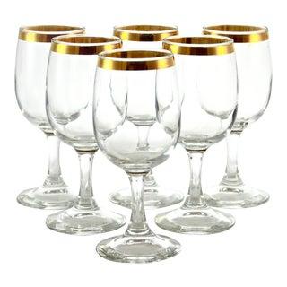 Gold Rim Stemmed Wine Glasses - Set of 6