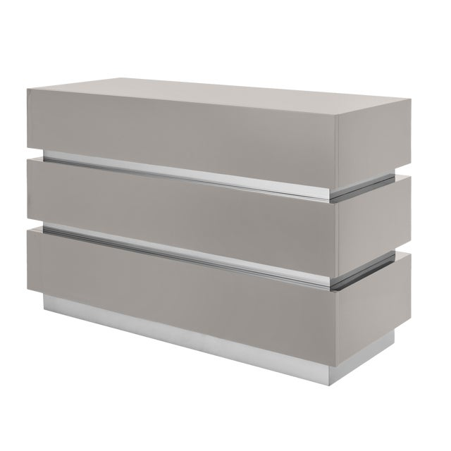 Not Yet Made - Made To Order Banded Chest Of Drawers in Taupe / Nickel - Flair Home for The Lacquer Company For Sale - Image 5 of 5