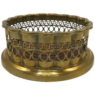 1960s Mottahedeh Brass and Walnut Wine Bottle Coaster With Greek Key Motif For Sale