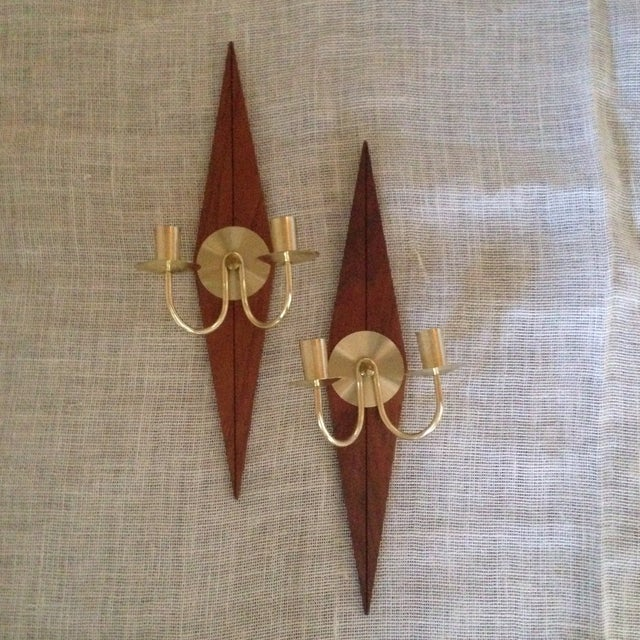 Mid-Century Wood & Metal Wall Sconces - A Pair - Image 2 of 11
