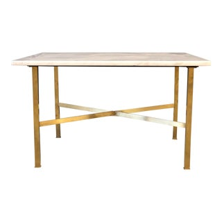 In the Style of Paul McObb Marble and Brass Accent Table For Sale