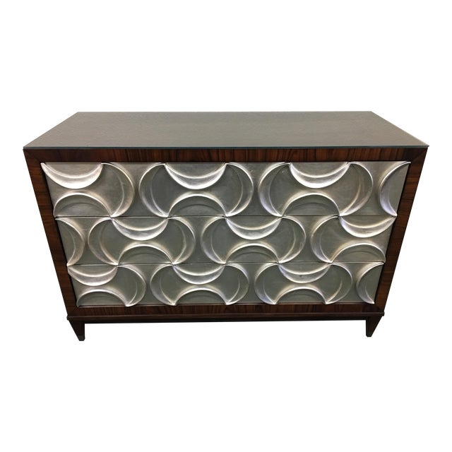 Caracole Rosewood & Silver Tie One On Three Drawer Chest For Sale