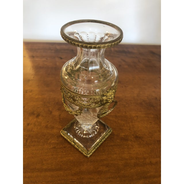 Metal French Cut Crystal and Ormolu Mounted Vase For Sale - Image 7 of 8