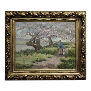 Bonnard -Little Girl Walking Along the River With Grandma-19th Century French Oil Painting For Sale