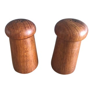 Mid 20th Century Danish Modern Teak Salt and Pepper Shakers - a Pair For Sale