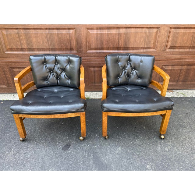 1970s Vintage Drexel Exposed Wood Frame Club Chairs For Sale - Image 9 of 9