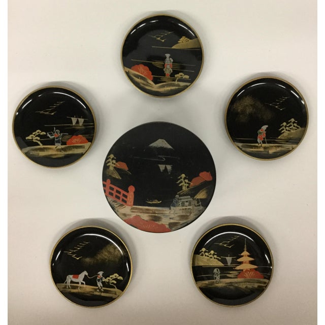 Vintage Mid-Century Modern Lacquer Coaster Set - Set of 5 For Sale - Image 11 of 11