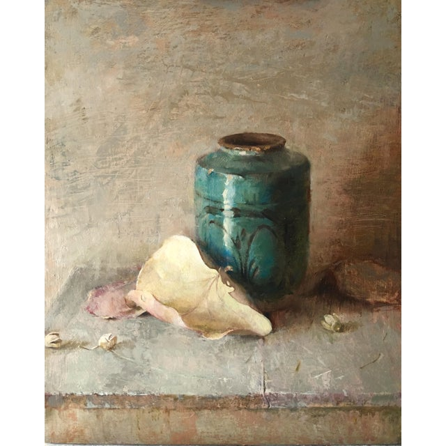"""Turquoise Brown Contemporary Still Life """"Peace Piece"""" For Sale - Image 8 of 8"""
