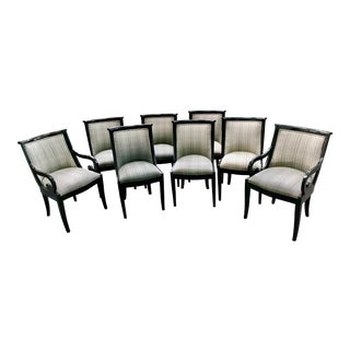 Regency Style Black Lacquered Tub Chairs - Set of 8 For Sale