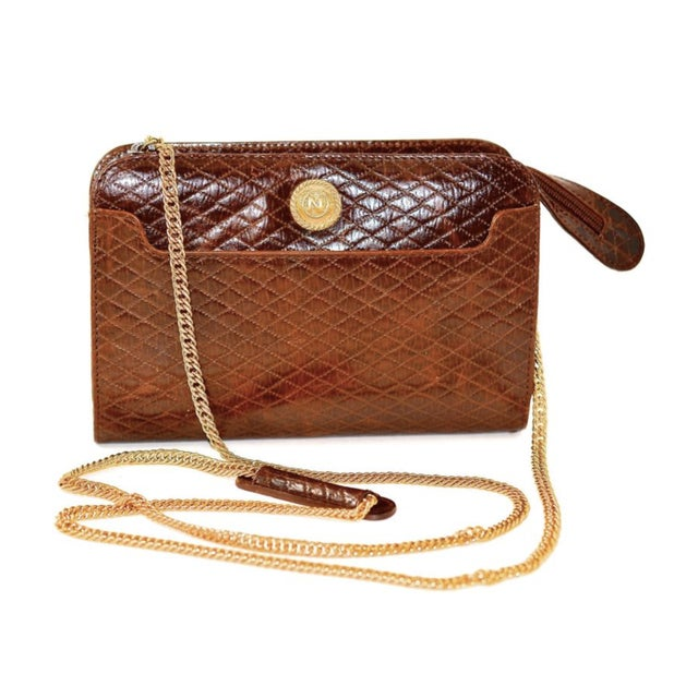 1980s Albert Nipon Quilted Brown Cross Body Bag For Sale - Image 4 of 4