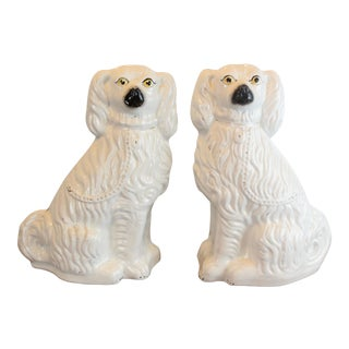 Vintage White Staffordshire Dog Figurines - a Pair For Sale