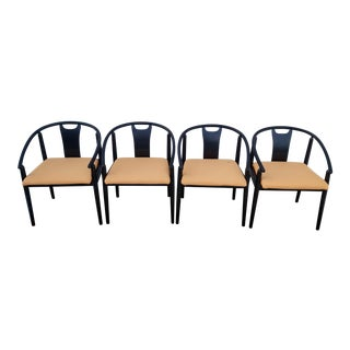 Mid-Century Modern Black Ebonized Dining Chairs - Set of 4 For Sale
