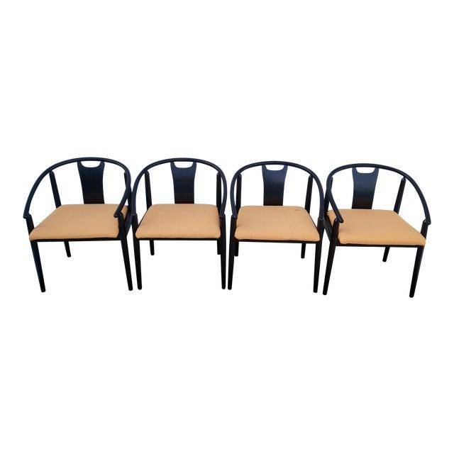 Admirable Mid Century Modern Black Ebonized Dining Chairs Set Of 4 Creativecarmelina Interior Chair Design Creativecarmelinacom