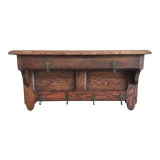 20th Century Country Wooden Coat Rack/Pot Shelf