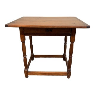 Early-20th Century New England Pine Tavern Table + Drawer For Sale