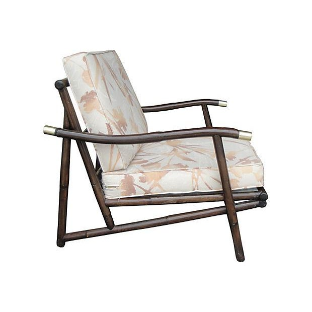 Boho Chic Mid Century Style Bamboo Armchair & Ottoman For Sale - Image 3 of 6