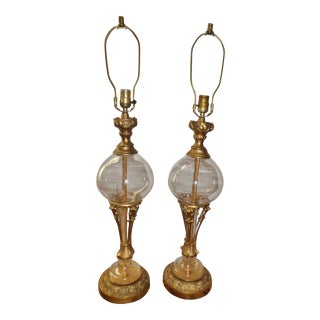 Vintage Neoclassical Brass Glass Lamps- a Pair For Sale