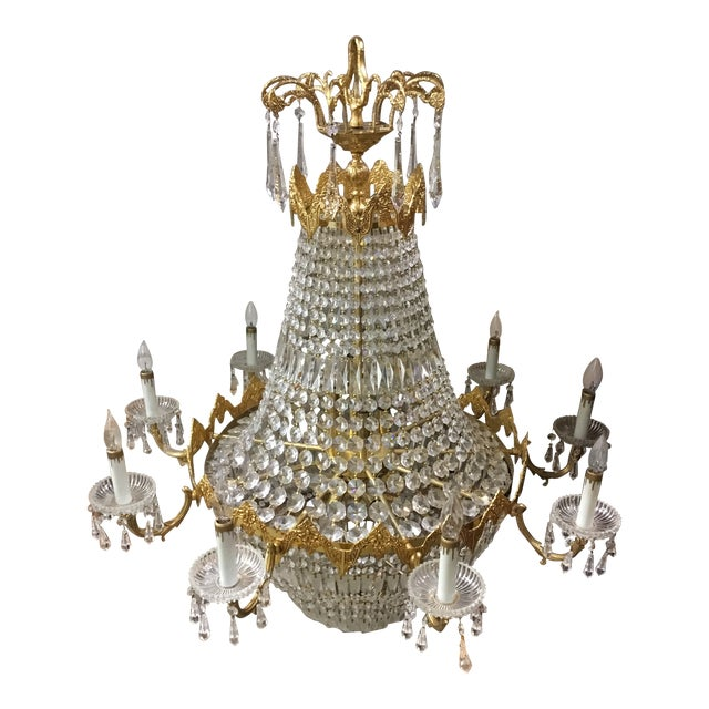 Late 1970's Empire Style Gold Toned & Crystal Chandelier For Sale