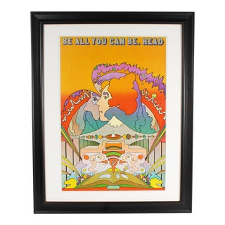 "Vintage Peter Max 1970 Offset Lithograph Poster ""Be All You Can Be. Read"" For Sale"