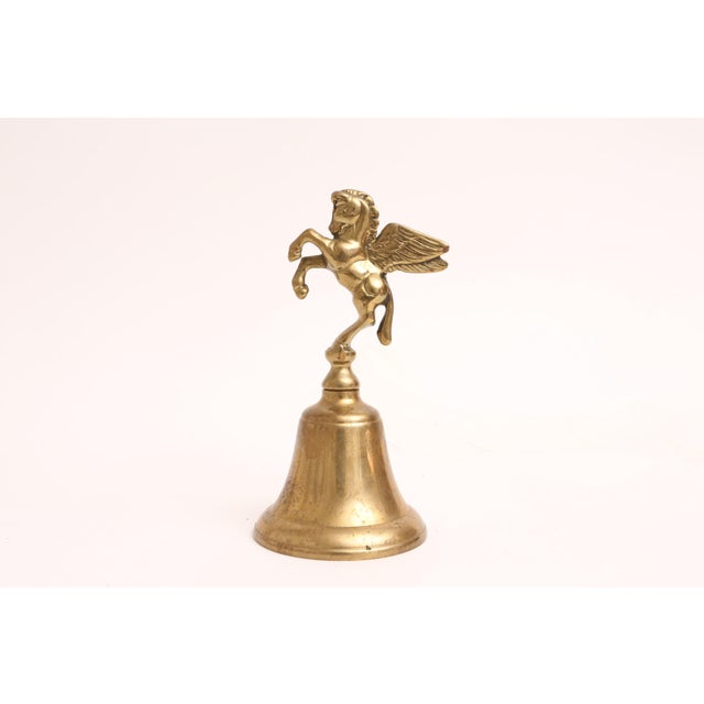 Boho Chic Vintage Brass Pegasus Bell For Sale - Image 3 of 4
