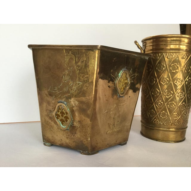 Gold 1980s Vintage Brass Planters - A Pair For Sale - Image 8 of 10