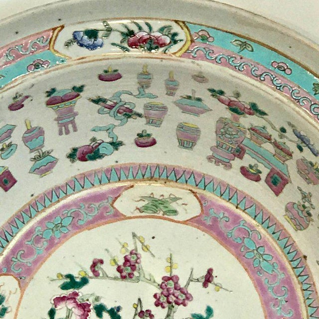 Ceramic Large Qing Dynasty Famille Verte Peacock and Vase Motif Bowl For Sale - Image 7 of 13