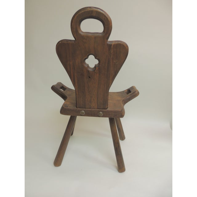 1950s Vintage Primitive Rustic Belgian Artisanal Birthing Chair With Four Legs For Sale - Image 5 of 7