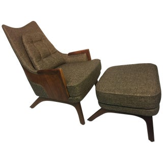 Mid-Century Modern Lounge Chair and Ottoman by Adrian Pearsall For Sale