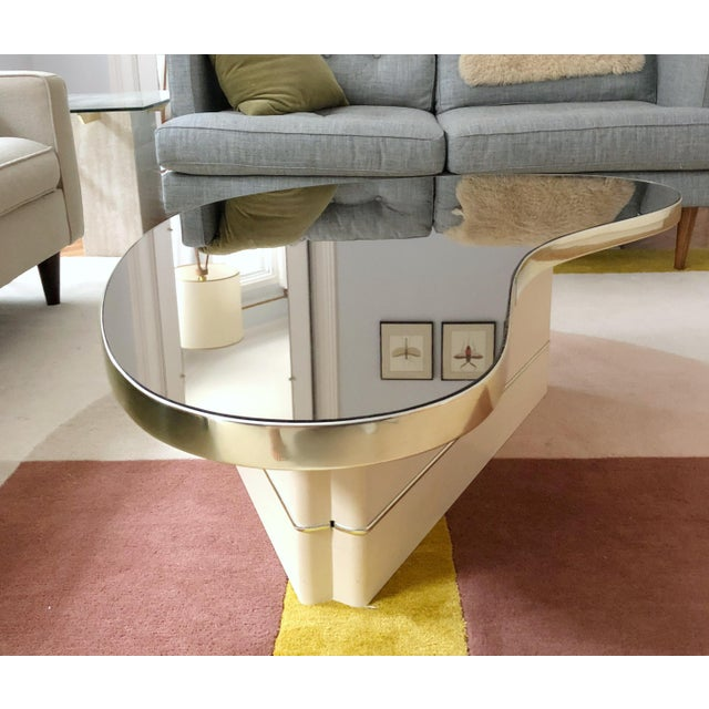 Mid-Century Modern Mirrored Kidney Coffee Table For Sale - Image 4 of 12