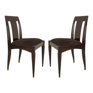 Set of 4 French Art Deco Oak Side Chairs For Sale