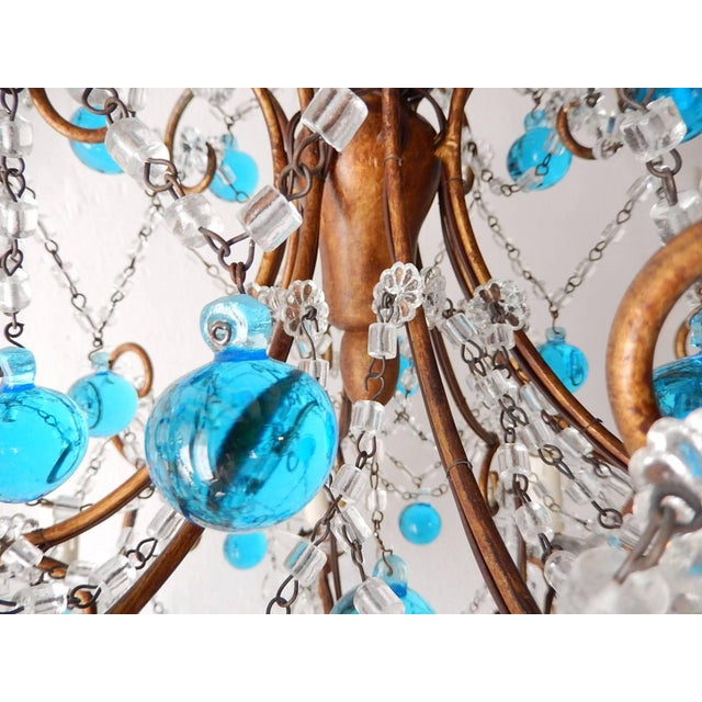 French Blue Murano Balls Beaded Swags Chandelier, circa 1900 For Sale - Image 11 of 13