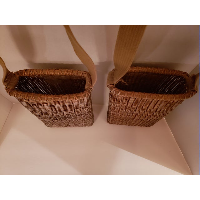1950s Vintage Wood Bottom, Canvas Strap Wicker Baskets - a Pair For Sale - Image 5 of 6