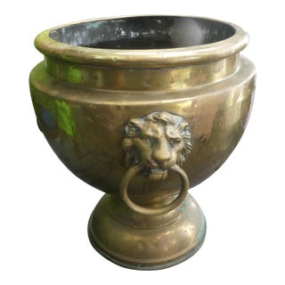 19th Century French Brass Planter With Lion's Heads For Sale