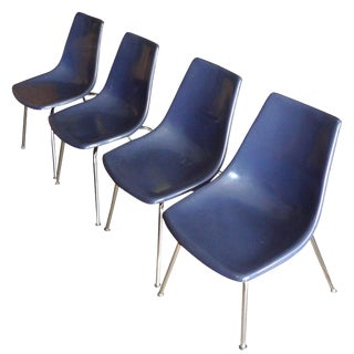 Dining Chairs of Blue Fiberglass With Chrome Frames From Kreuger, Set of 4 For Sale