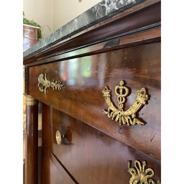 French 19th Century French Empire Marble Top Mahogany Commode For Sale - Image 3 of 10