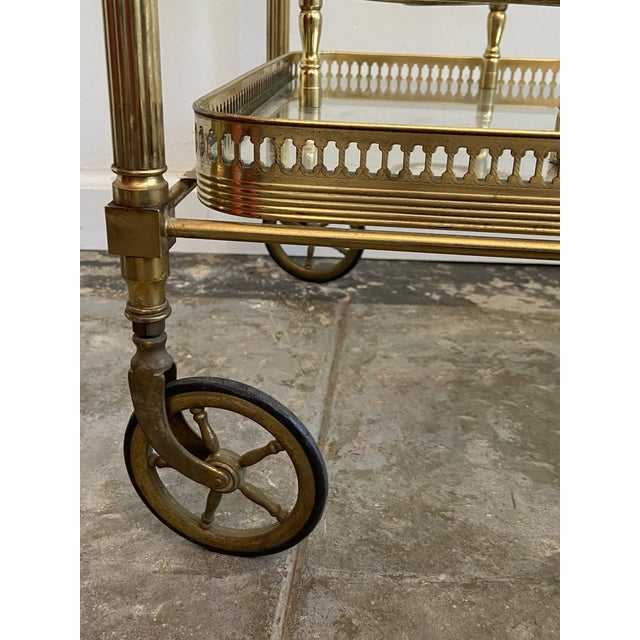 Vintage Brass Bar Cart For Sale In Los Angeles - Image 6 of 9