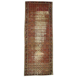 Distressed Antique Persian Hamadan Gallery Rug, Wide Persian Runner