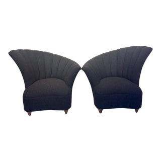 1950s Mid-Century Modern Asymmetrical Charcoal Club Chairs - a Pair For Sale