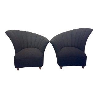 1950s Mid-Century Modern Asymmetrical Charcoal Club Chairs - a Pair