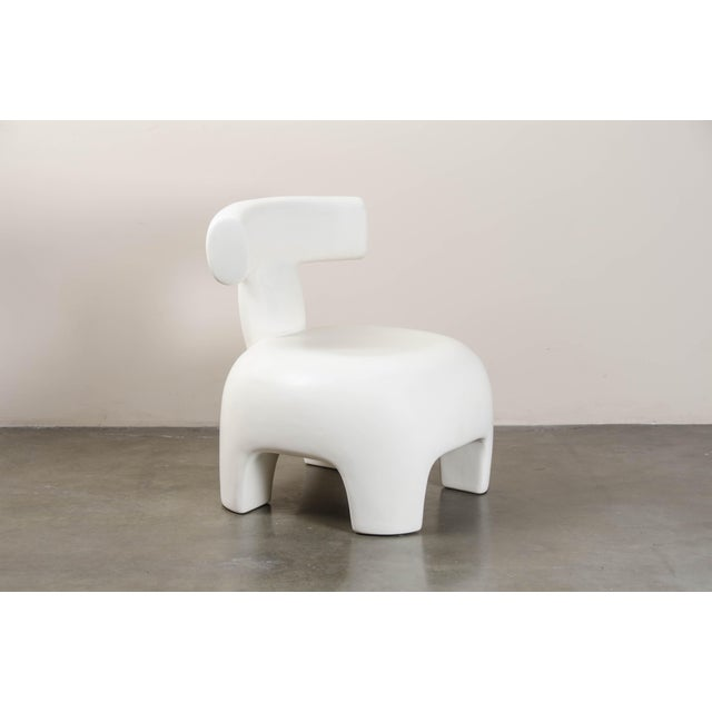 Back Rest Chair - Cream Lacquer by Robert Kuo, Hand Repoussé, Limited Edition For Sale In Los Angeles - Image 6 of 6